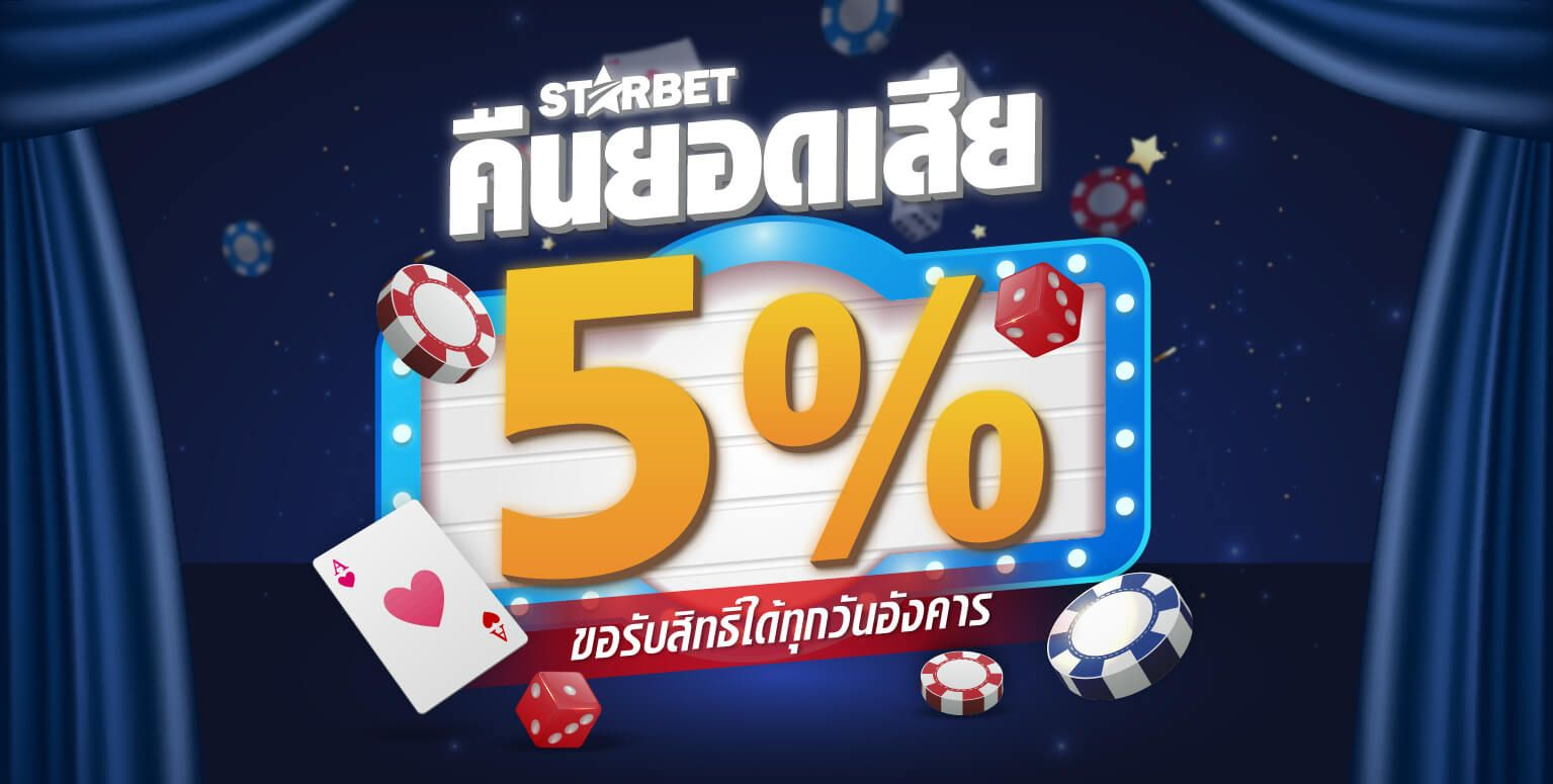 Play and lose, get 5% cash back, unlimited amount.